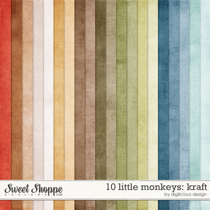 10 Little Monkeys Kraft by Digilicious Design