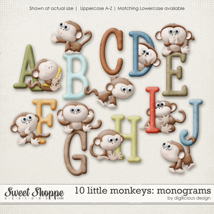 10 Little Monkeys Monograms by Digilicious Design