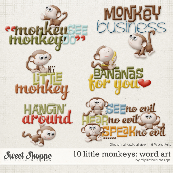 10 Little Monkeys Word Art by Digilicious Design