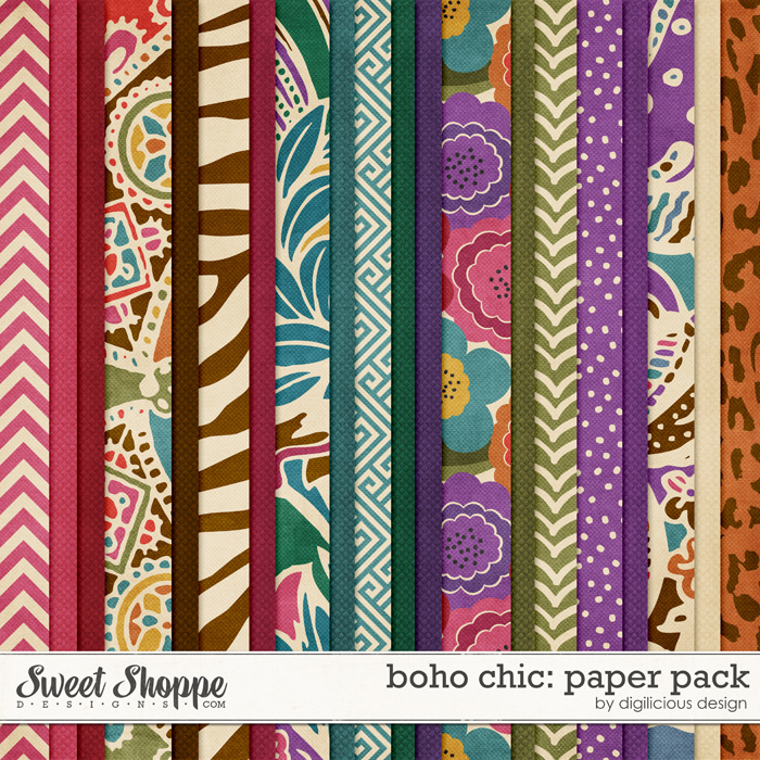 Boho Chic Paper Pack by Digilicious Design