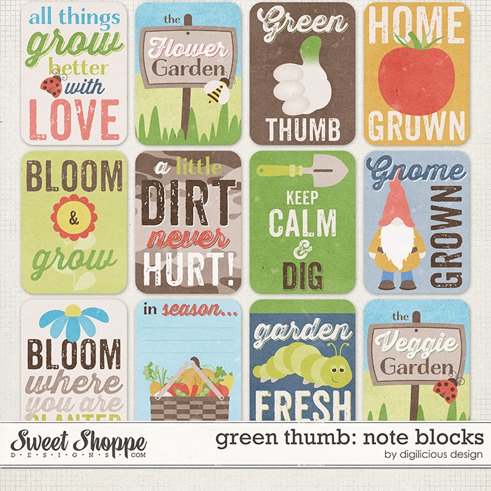 Green Thumb Note Blocks by Digilicious Design