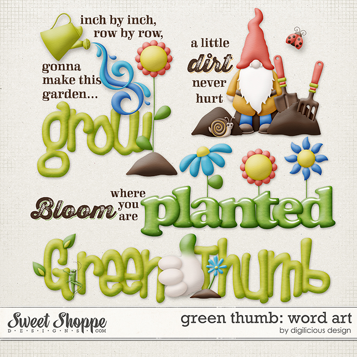 Green Thumb Word Art by Digilicious Design