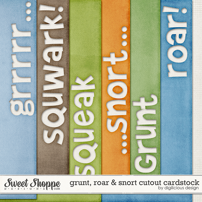Grunt, Roar & Snort Cutout Cardstock by Digilicious Design