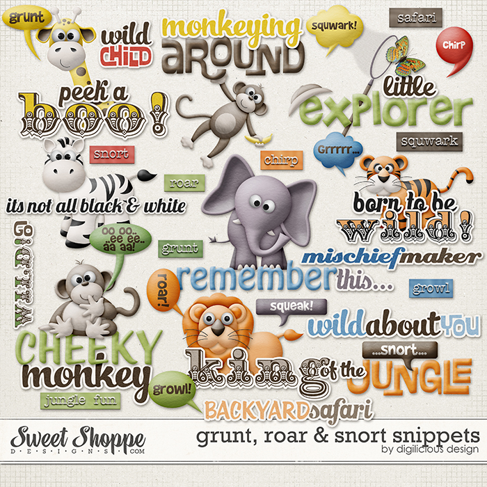 Grunt, Roar & Snort Snippets by Digilicious Design