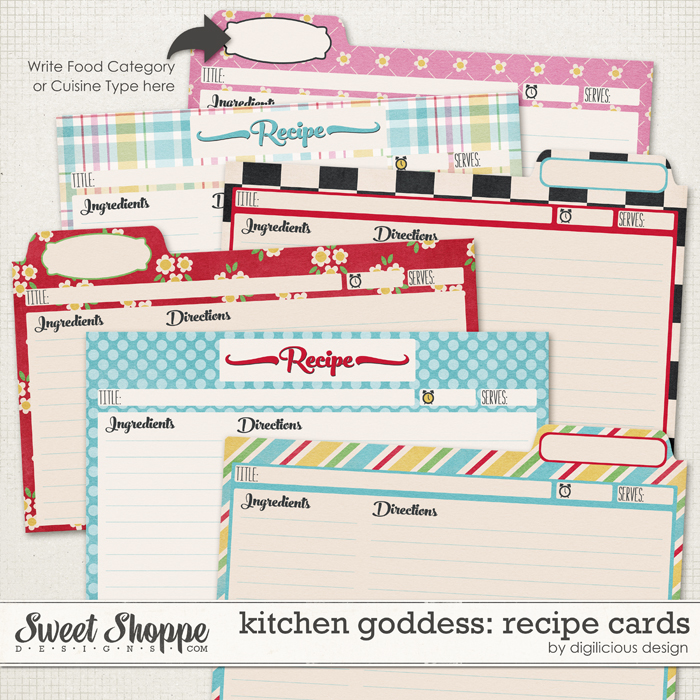Kitchen Goddess Recipe Cards by Digilicious Design