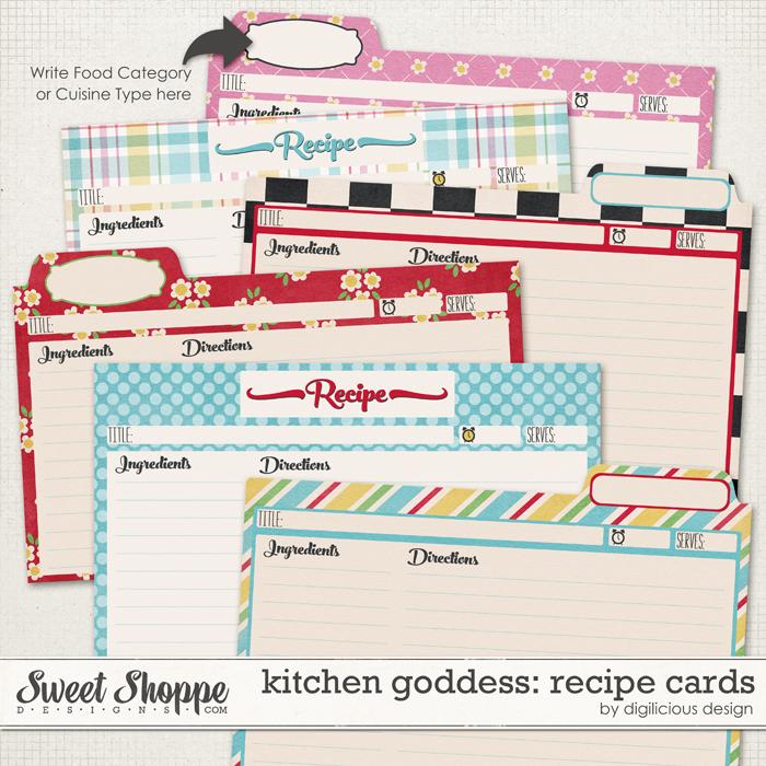 Kitchen Goddess Recipe Cards by Digilicious Design