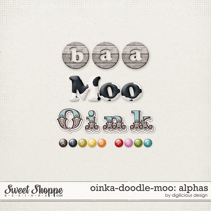 Oinka-doodle-moo Alphas by Digilicious Design