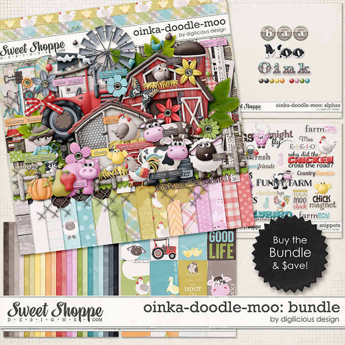 Oinka-doodle-moo Bundle by Digilicious Design