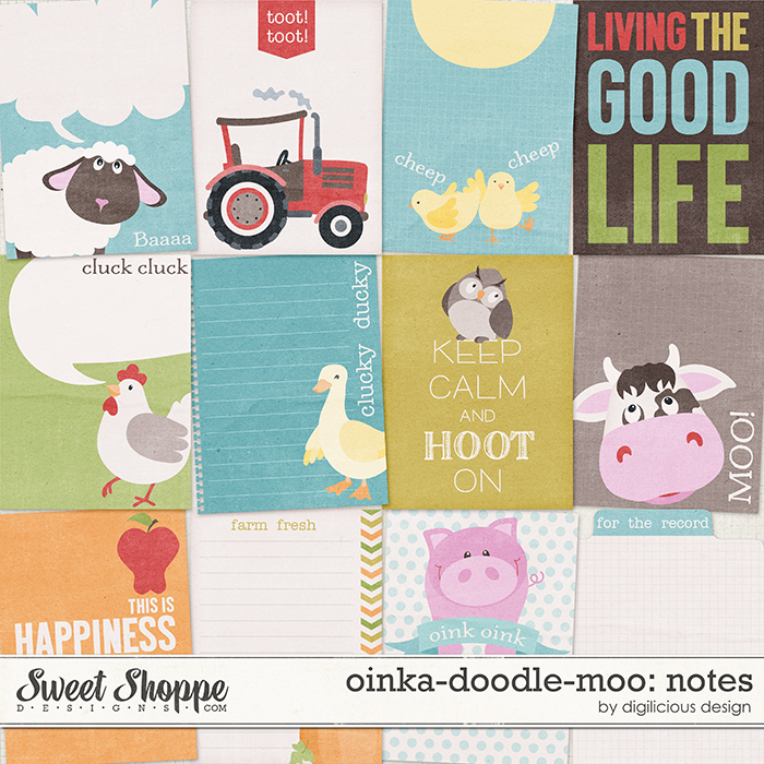 Oinka-doodle-moo Notecards by Digilicious Design