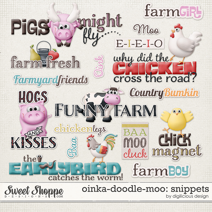Oinka-doodle-moo Snippets by Digilicious Design