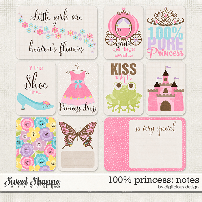 100% Princess Notes by Digilicious Design