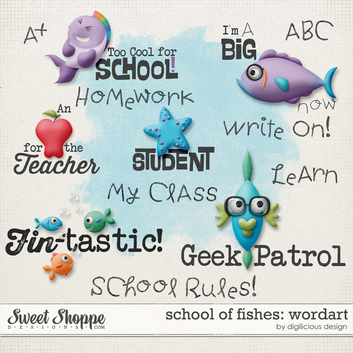 School of Fishes Wordart by Digilicious Design