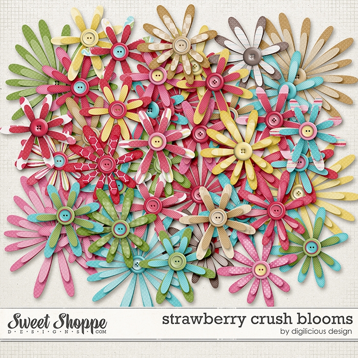 Strawberry Crush Blooms by Digilicious Design