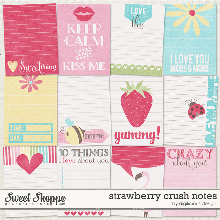 Strawberry Crush Notes by Digilicious Design