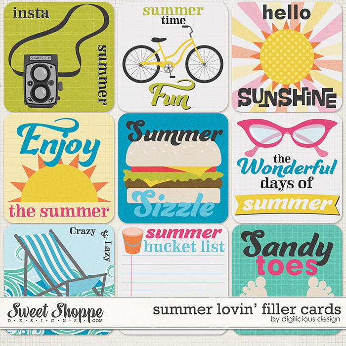 Summer Lovin' Filler Cards by Digilicious Design