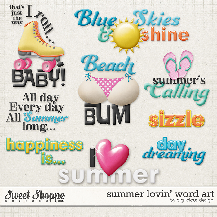 Summer Lovin' Wordart by Digilicious Design