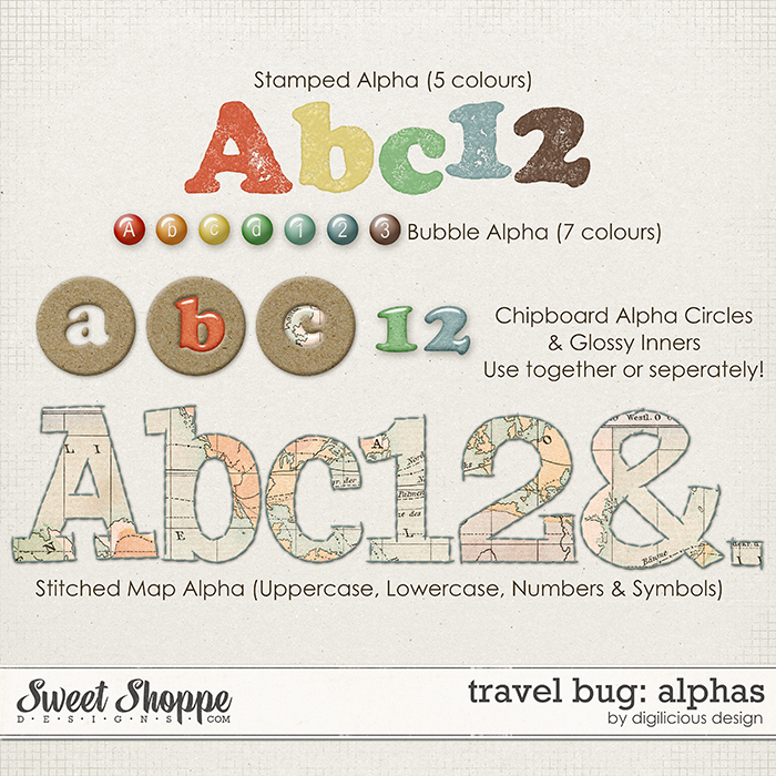 Travel Bug Alphas by Digilicious Design