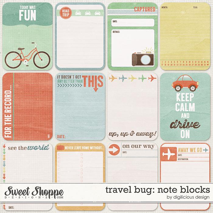 Travel Bug Note Blocks by Digilicious Design