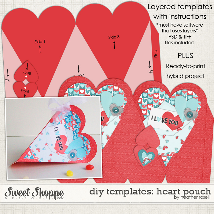 DIY Printable Templates: Heart Pouch by Heather Roselli