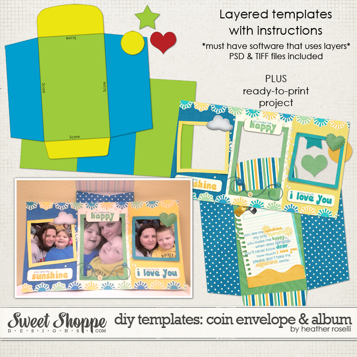 DIY Printable Templates: Coin Envelope Album by Heather Roselli