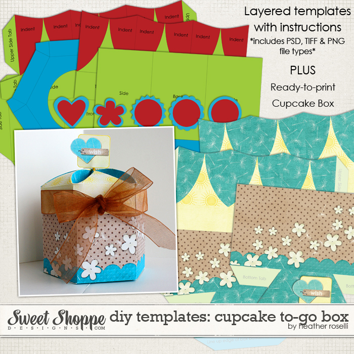 DIY Printable Templates: Cupcake To-Go Box by Heather Roselli