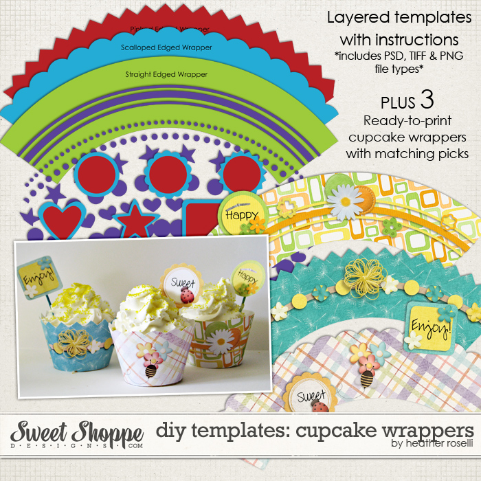 DIY Printable Templates: Cupcake Wrappers by Heather Roselli