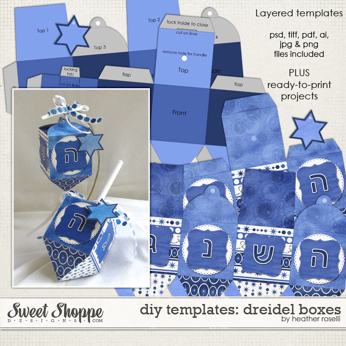 DIY Printable Templates: Dreidel Boxes by Heather Roselli