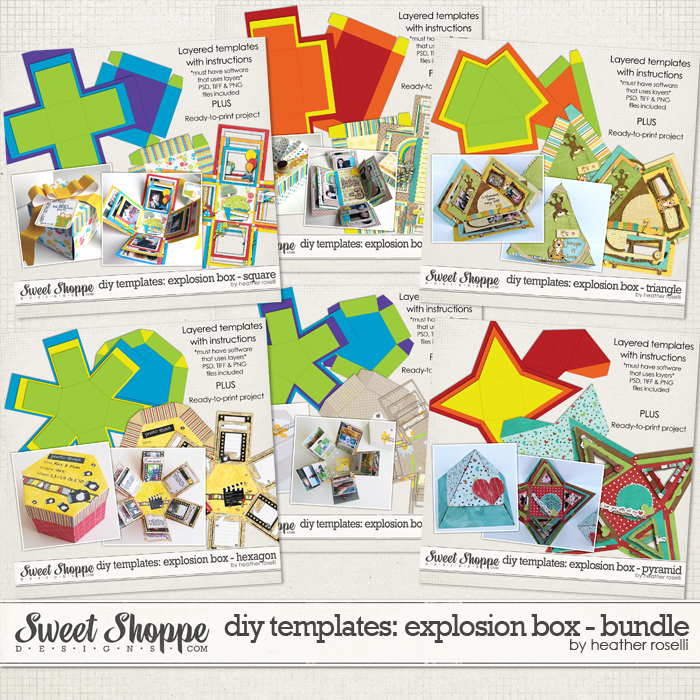 DIY Printable Templates: Explosion Box - Bundle by Heather Roselli