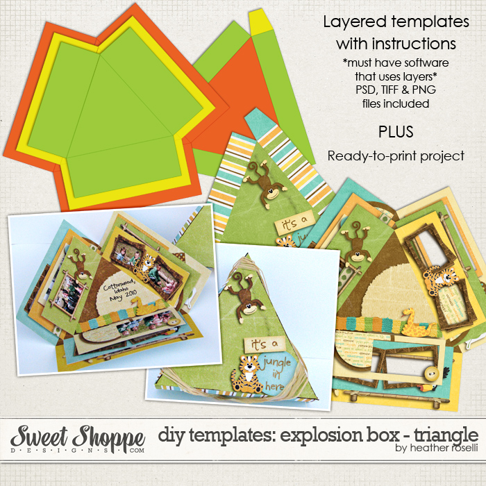 DIY Printable Templates: Explosion Box - Triangle by Heather Roselli