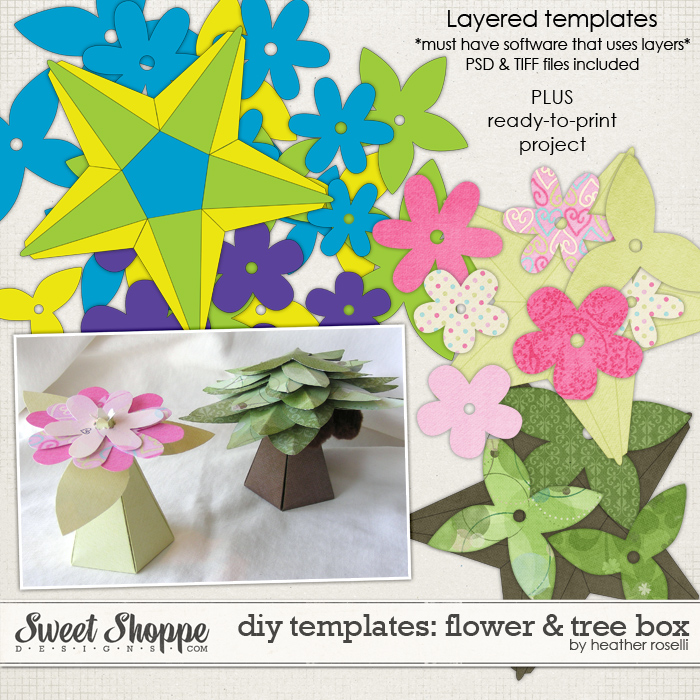 DIY Printable Templates: Flower & Tree Box by Heather Roselli