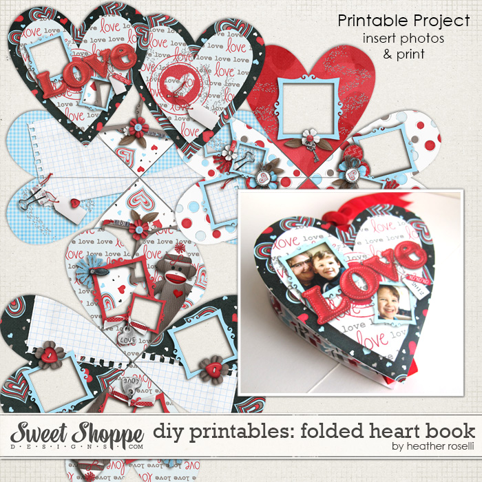 DIY Printables: Folded Heart Book by Heather Roselli