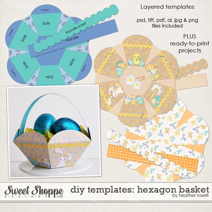 DIY Printable Templates: Hexagon Basket by Heather Roselli
