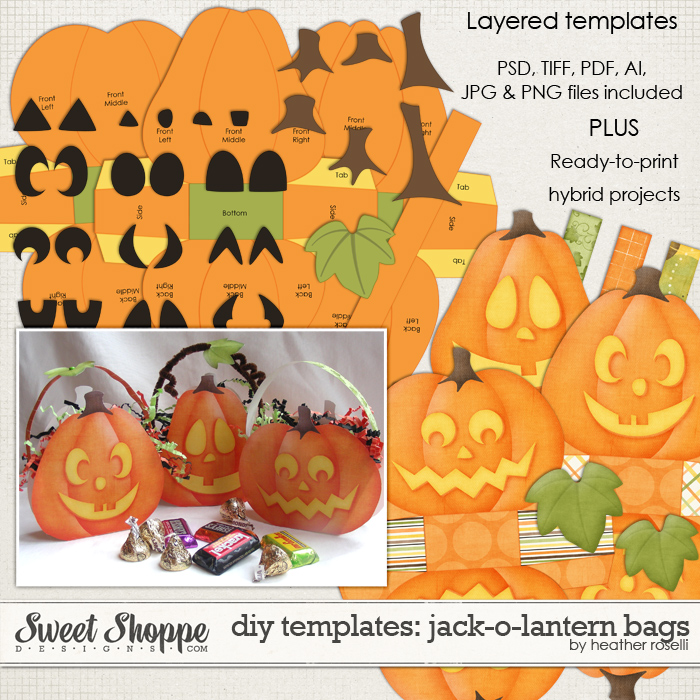 DIY Printable Templates: Jack-o-Lantern Bags by Heather Roselli