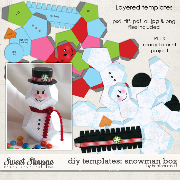 DIY Printable Templates: Snowman Box by Heather Roselli