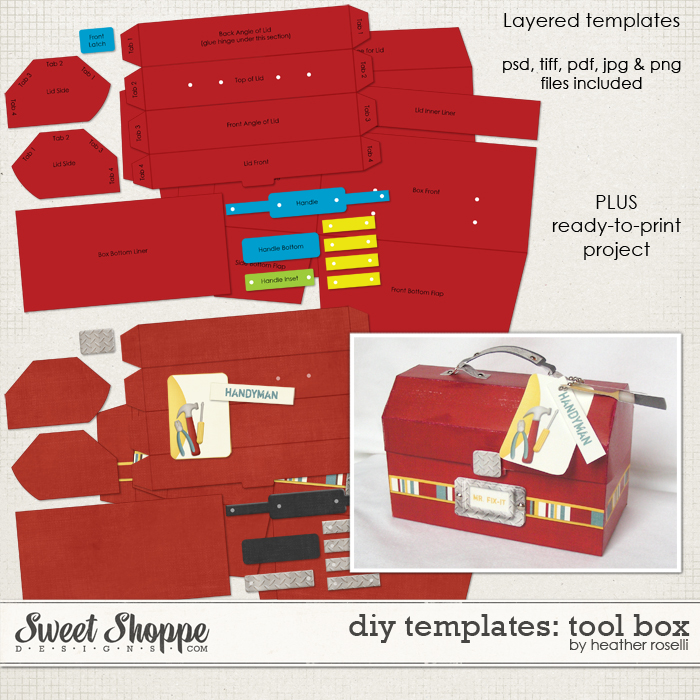 DIY Printable Templates: Tool Box by Heather Roselli