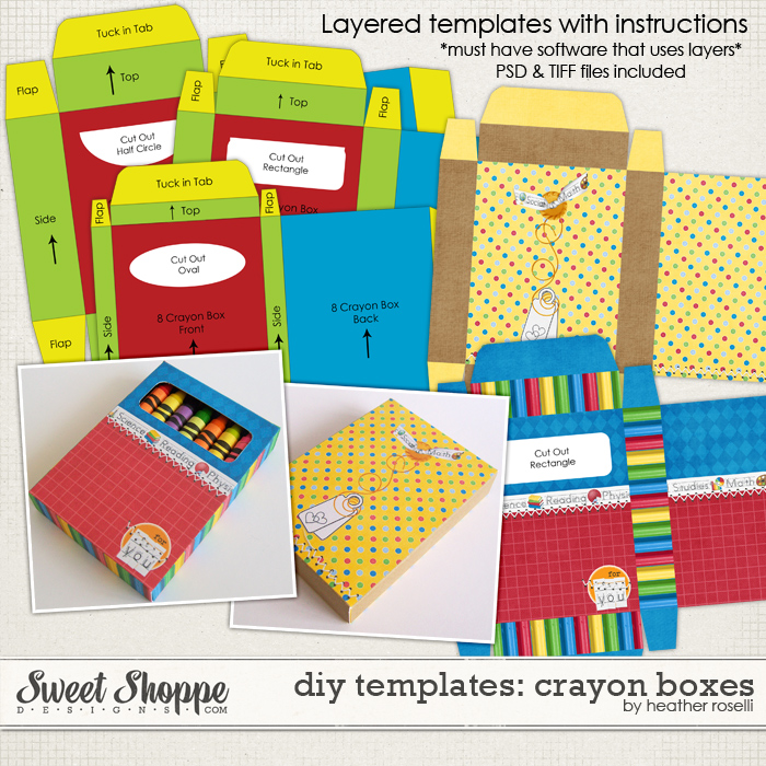 DIY Printable Templates: Crayon Boxes by Heather Roselli