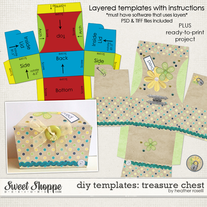 DIY Printable Templates: Treasure Chest by Heather Roselli