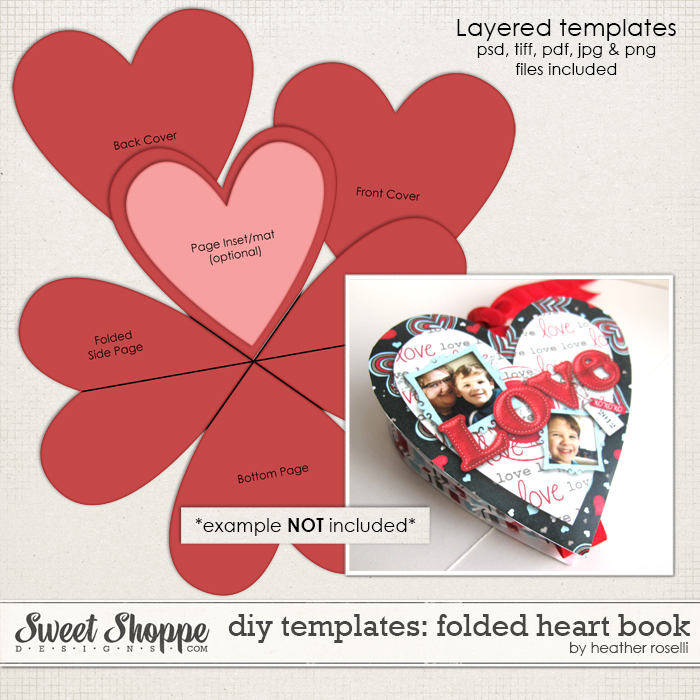 DIY Templates: Folded Heart Book by Heather Roselli
