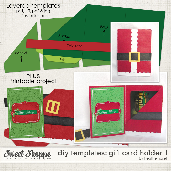 DIY Templates: Gift Card Holder 1 by Heather Roselli