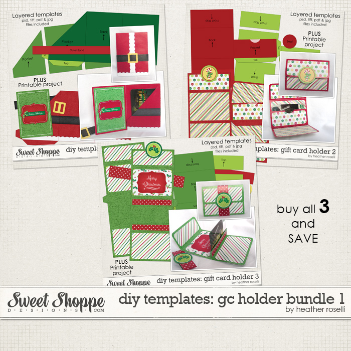 DIY Templates: Gift Card Holder Bundle 1 by Heather Roselli
