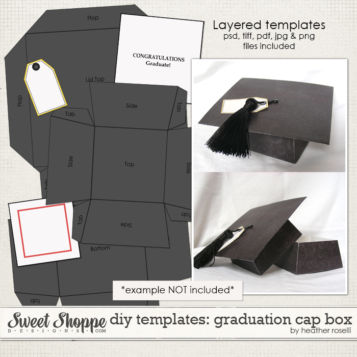 DIY Templates: Graduation Cap Box by Heather Roselli