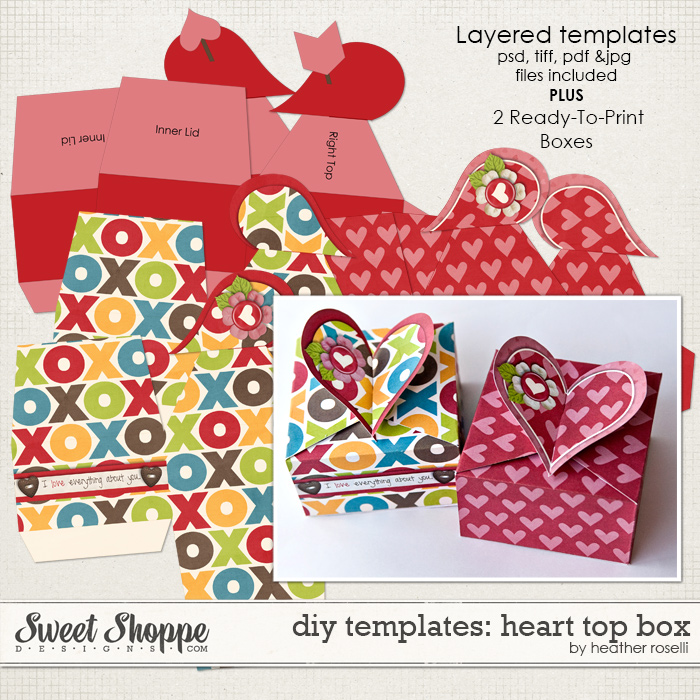 DIY Templates: Heart Top Box by Heather Roselli