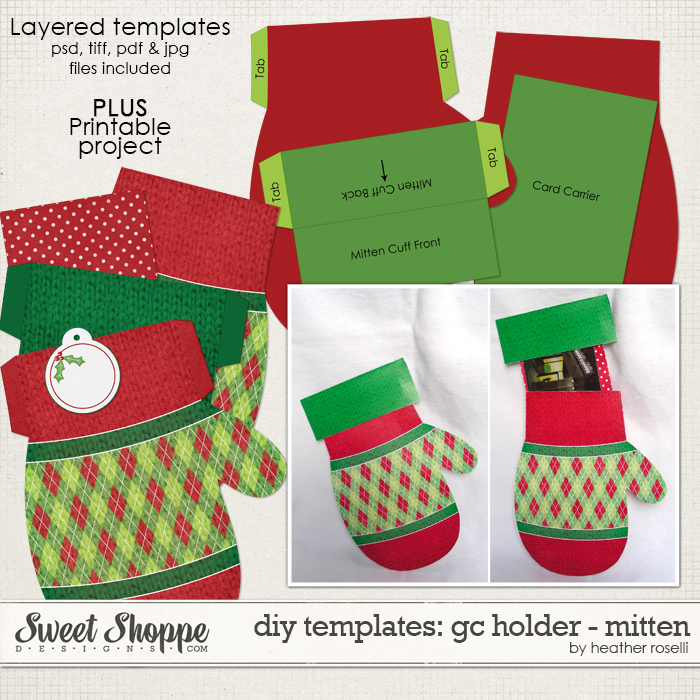 DIY Templates: Gift Card Holder - Mitten by Heather Roselli