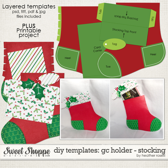 DIY Templates: Gift Card Holder - Stocking by Heather Roselli