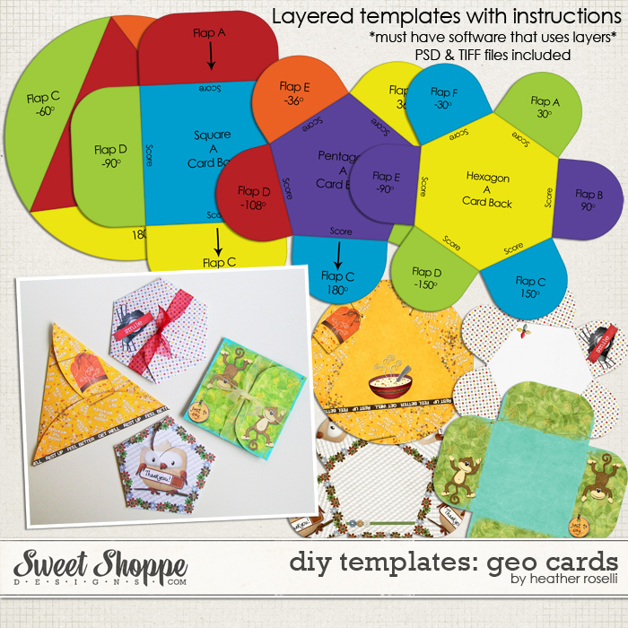 DIY Printable Templates: Geo Cards by Heather Roselli