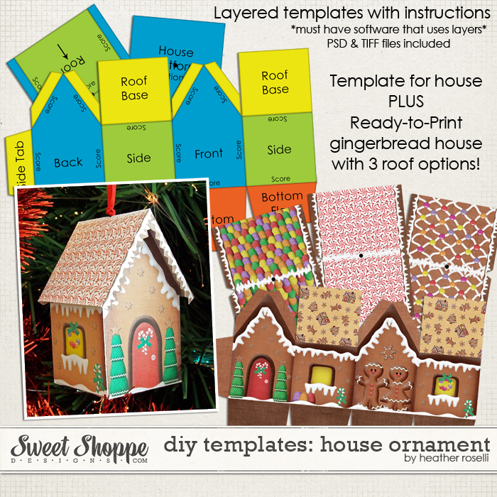 DIY Printable Templates: House Ornament by Heather Roselli