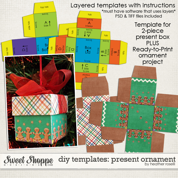 DIY Printable Templates: Present Ornament by Heather Roselli