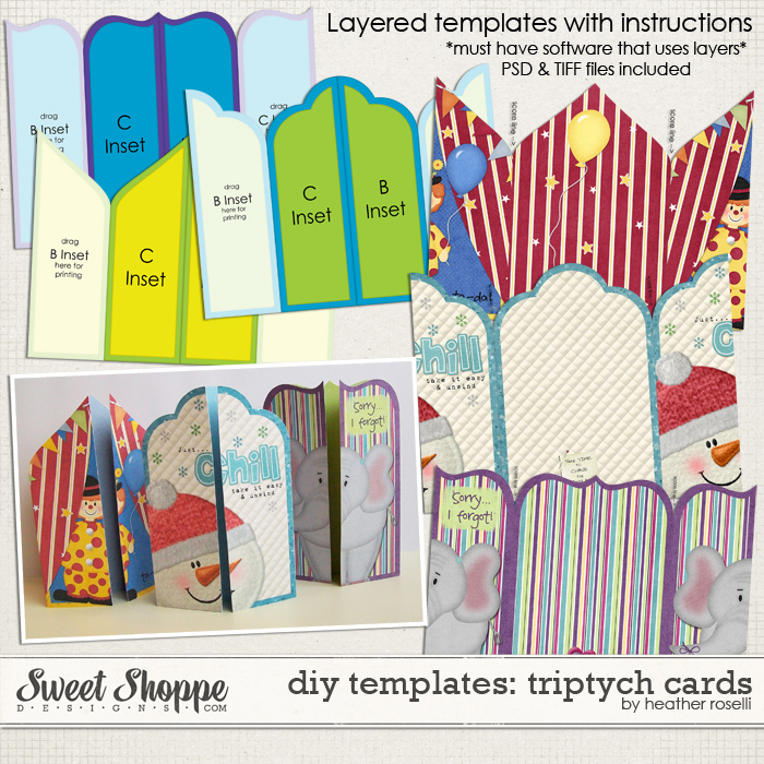 DIY Printable Templates: Triptych Cards by Heather Roselli