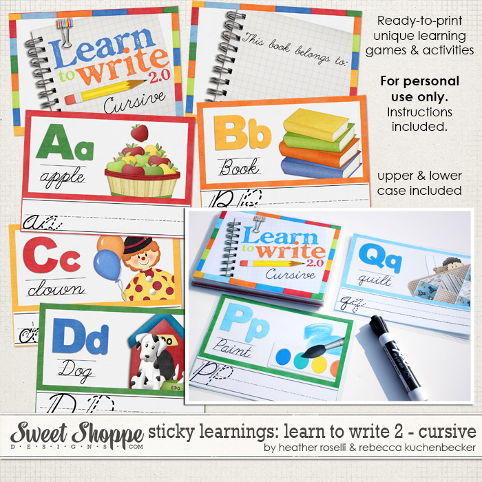 Sticky Learnings: Learn To Write 2 - Cursive by Heather Roselli & Rebecca Kuchenbecker