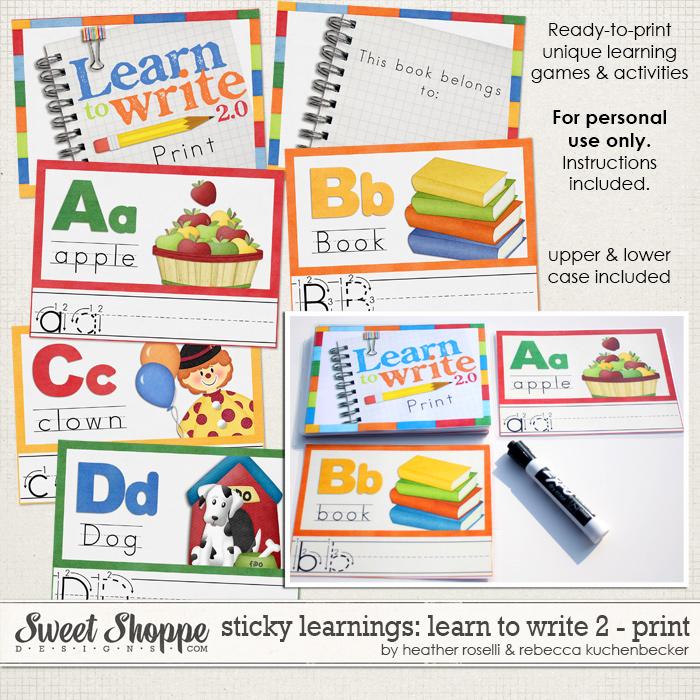 Sticky Learnings: Learn To Write 2 - Print by Heather Roselli & Rebecca Kuchenbecker